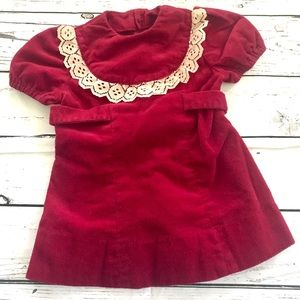 Vintage 1970's burgundy ruffle velvet dress